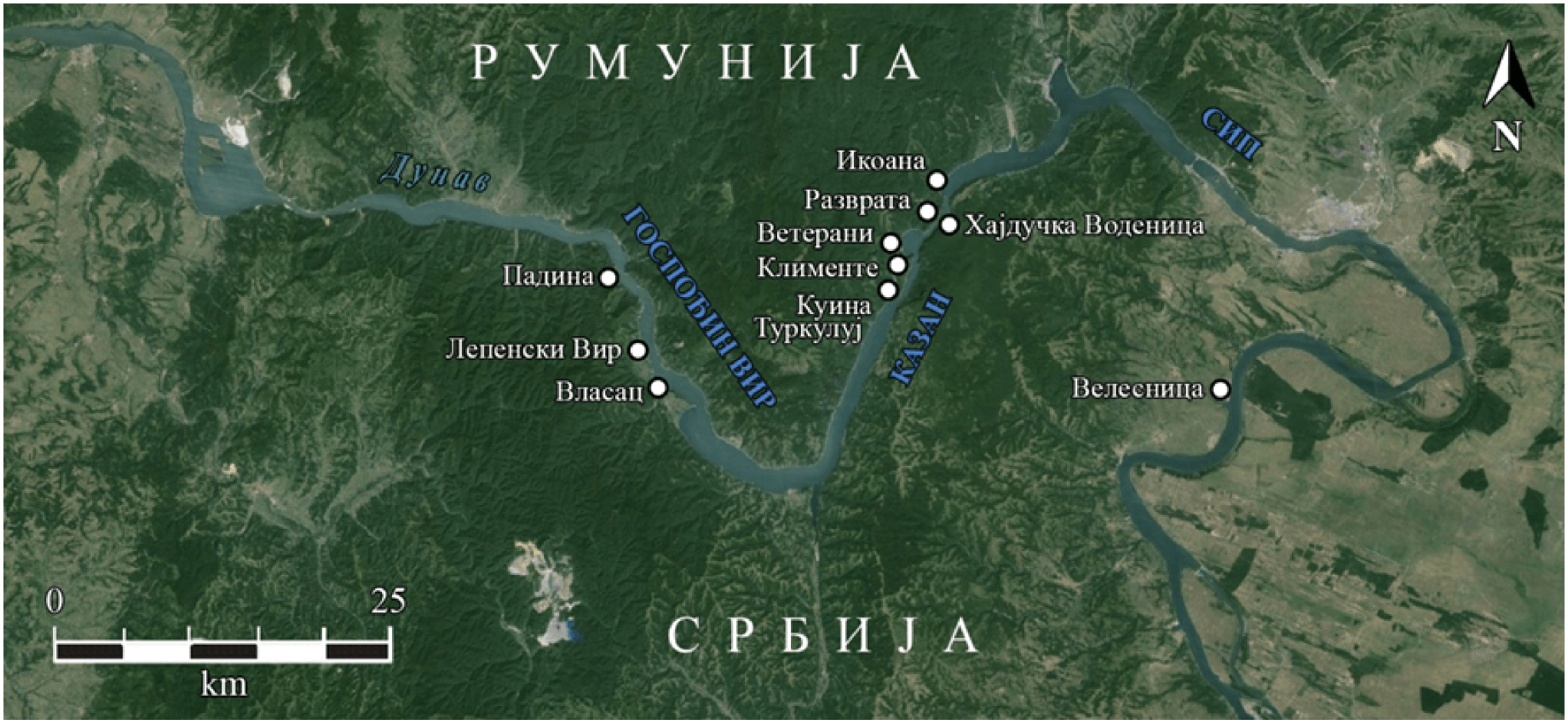 Map of the Đerdap Gorge (the Iron Gates Gorge), depicting the archaeological sites dating from the Mesolithic and Neolithic periods (9500–5500 BC) which are mentioned here.
