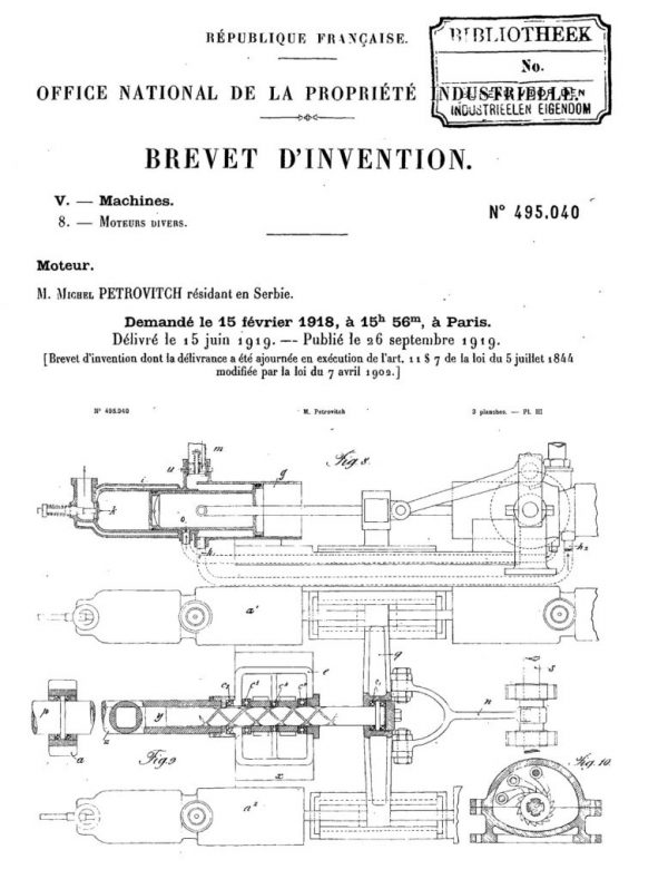 The sketch of a model of a motor with the piston of alternating impact, patent no. 495.040 (Espacenet European Patent Office, FR495040 A)