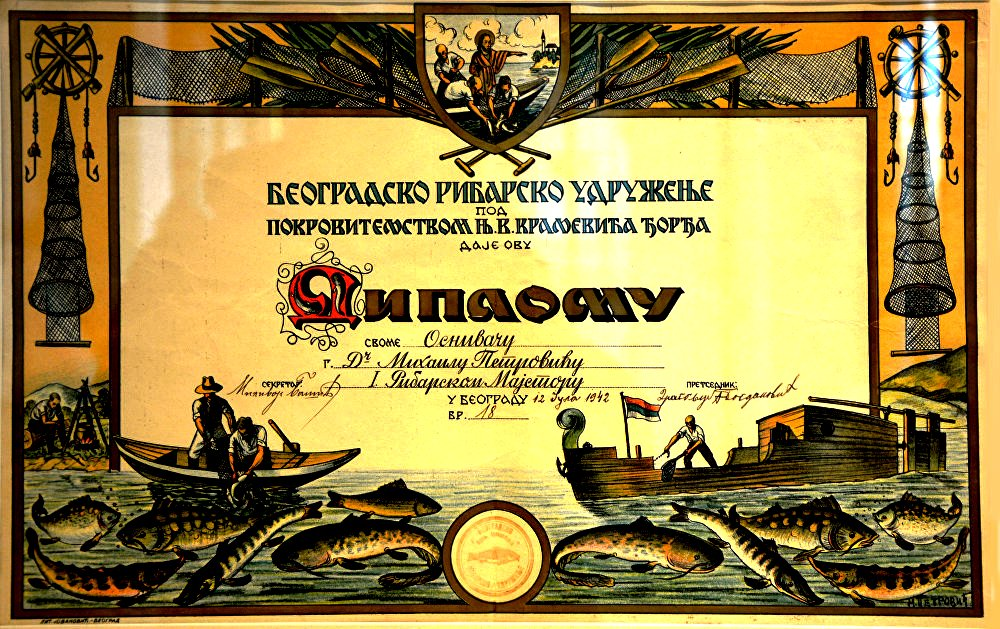 The Belgrade Fishery Association confers a diploma to its founder Mihailo Petrović on July 12, 1942. (SASA Archive, 14188/33)